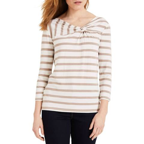 Phase Eight Beige Stripe Teegan Top