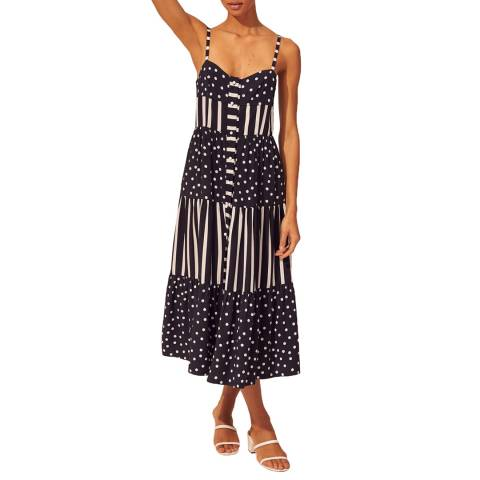 Solid & Striped Black Polka Button Up Tiered Dress