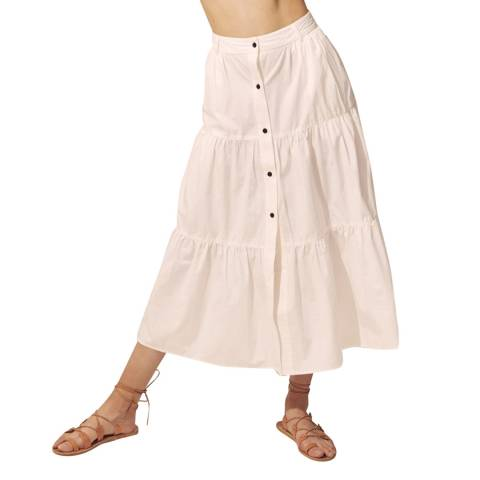 Solid & Striped Cream Poplin Long Skirt