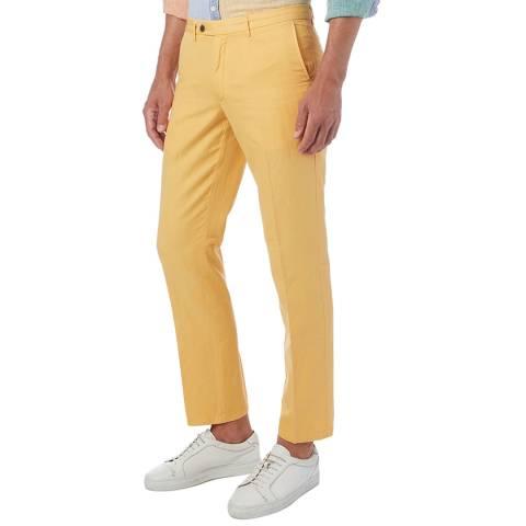Hackett London Yellow Garment Dye Linen Blend Chinos
