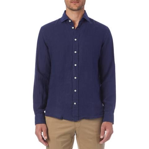Hackett London Navy Garment Dye Linen Shirt