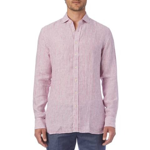 Hackett London Red Stripe Linen Slim Shirt