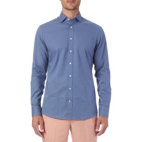 Hackett London Blue Chambray Dot Print Shirt