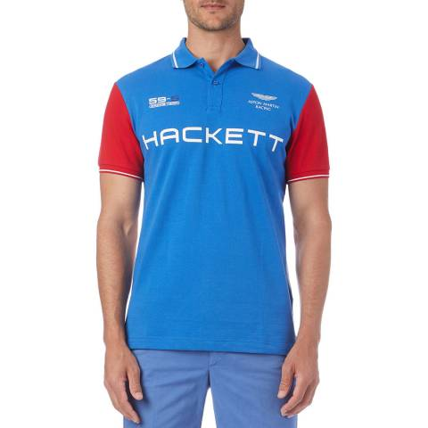 Hackett London Blue/Red AMR Wings Polo Shirt