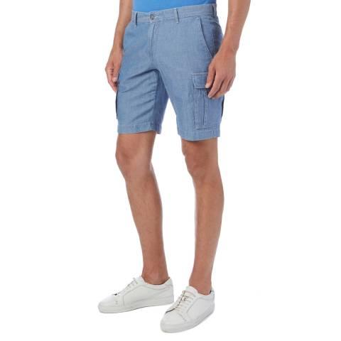 Hackett London Blue Chambray Linen Cargo Shorts