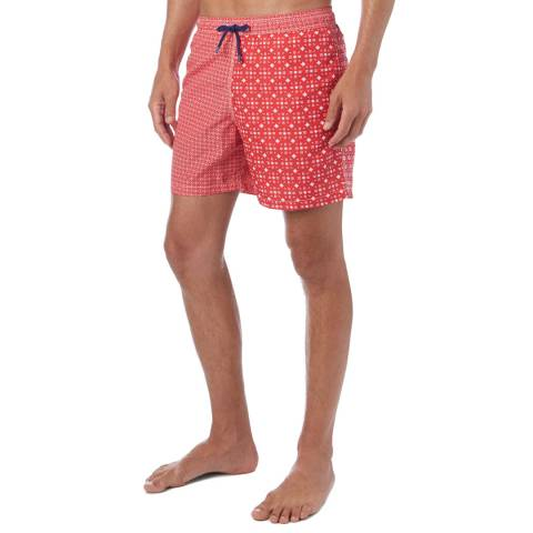 Hackett London Red Geo Quad Print Swim Shorts