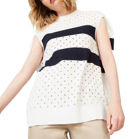 Rodier Navy Stripe Sleeveless Cashmere Blend Top