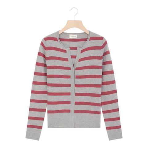 Rodier Grey Stripe Cashmere Blend Cardigan