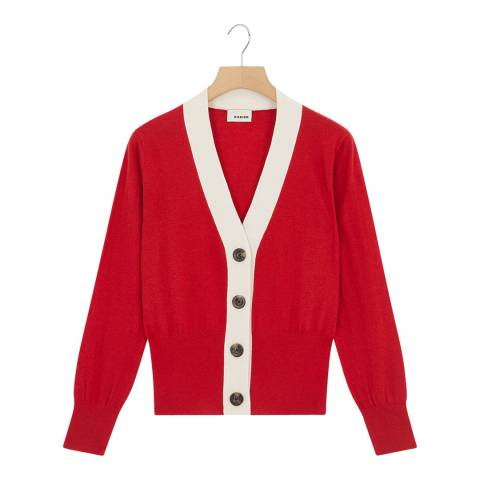 Rodier Red Wool Blend Cardigan