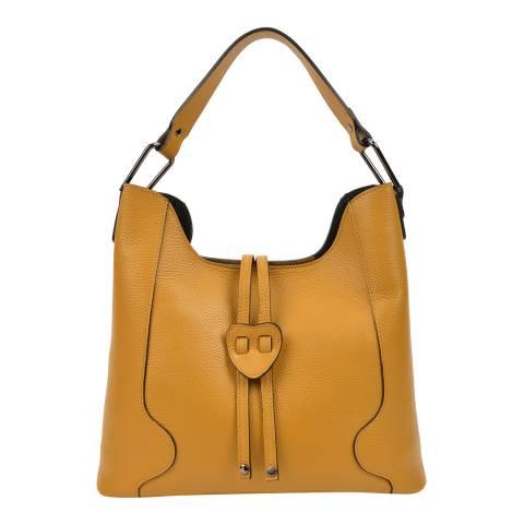 Carla Ferreri Yellow Leather Shoulder Bag