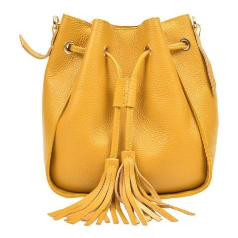 Carla Ferreri Yellow Leather Crossbody Bag