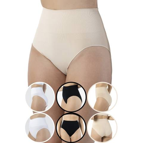 Formeasy 6 Pack 2 White  2 Black 2 Beige Seamless Shaping Brief