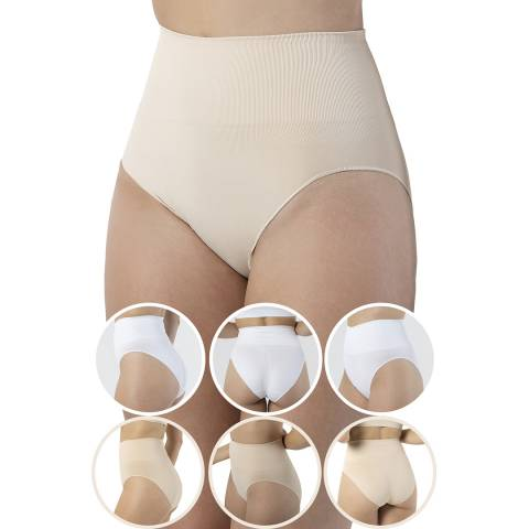 Formeasy 6 Pack 3 White 3 Beige  Seamless Shaping Brief