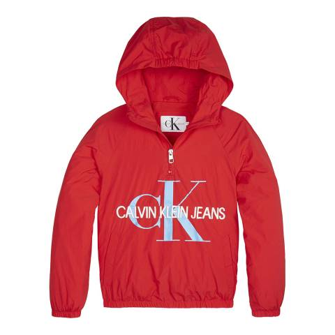 Calvin Klein Girl's Racing Red Packable Anorak with Bumbag