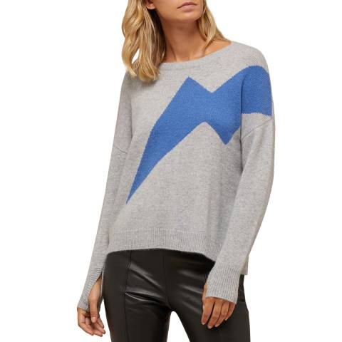 N°· Eleven Grey/Blue Cashmere Lightning Bolt Jumper