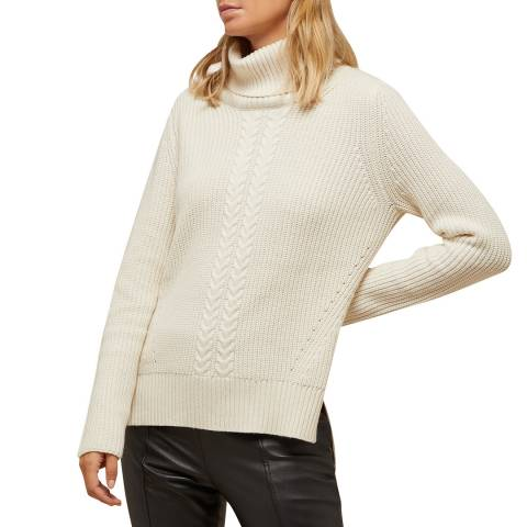N°· Eleven Cream Cashmere Blend Cable Knit Roll Neck Jumper