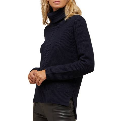 N°· Eleven Navy Cashmere Blend Cable Knit Roll Neck Jumper