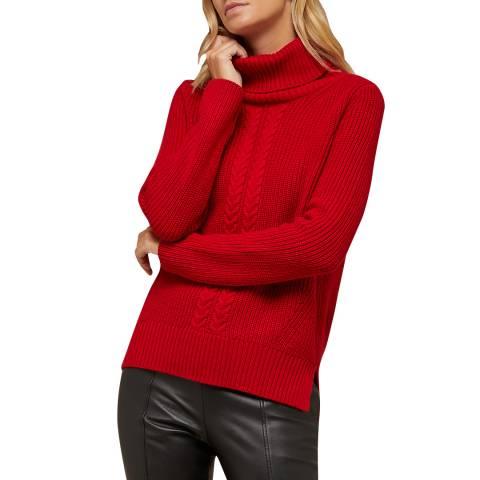N°· Eleven Red Cashmere Blend Cable Knit Roll Neck Jumper