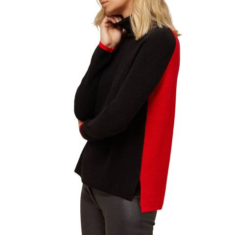 N°· Eleven Black/Red Cashmere Blend Colour-block Jumper