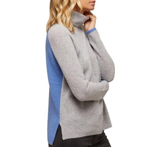 N°· Eleven Grey/Blue Cashmere Blend Colour-block Jumper
