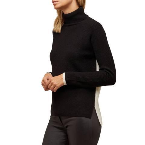 N°· Eleven Black/Cream Cashmere Blend Colour-block Jumper