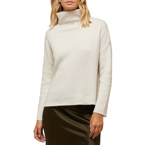N°· Eleven Cream Cashmere Blend Funnel Neck Jumper
