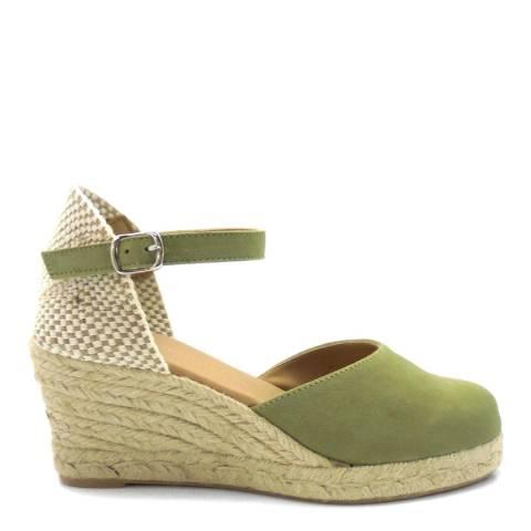 Paseart Green Suede Spanish Wedge Heel Espadrilles