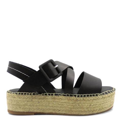 Paseart Black Vaqueta Crossband Sandal