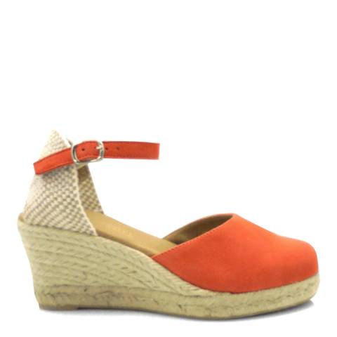 Paseart Orange Suede Spanish Wedge Heel Espadrilles