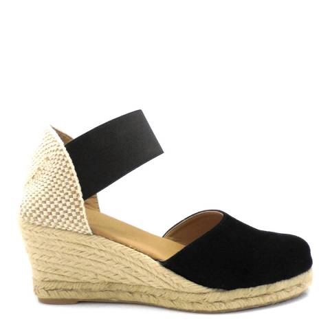 Paseart Black Suede Spanish Wide Strap Wedge Espadrilles