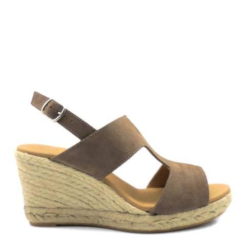 Paseart Brown Serraje Wedge Espadrille Sandal
