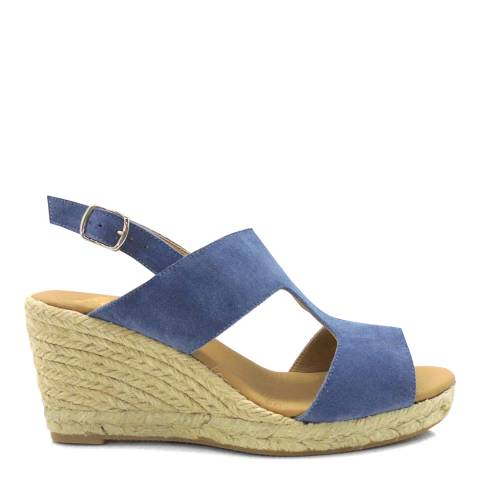 Paseart Blue Serraje Wedge Espadrille Sandal