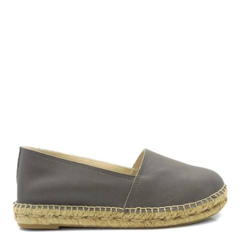 Paseart Grey Leather Espadrilles