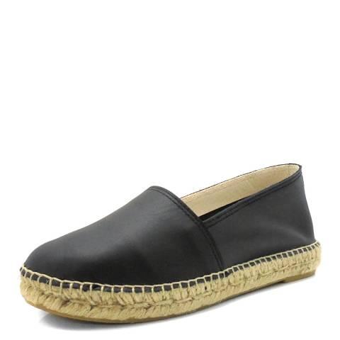 Paseart Black Leather Espadrilles