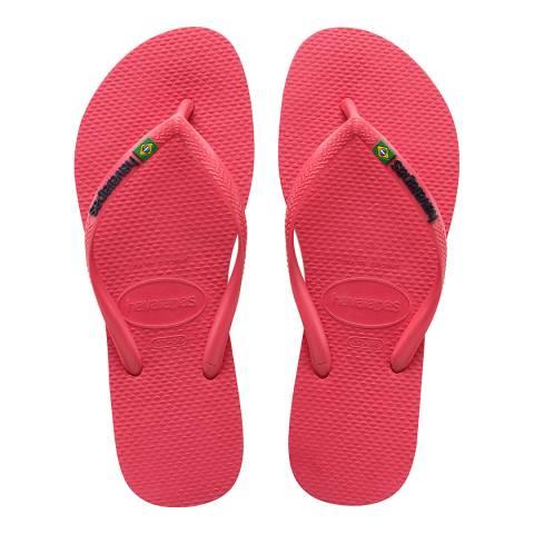 Havaianas Flamingo Pink Slim Brasil Logo Flip Flops