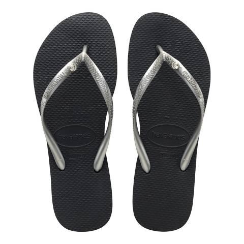 Havaianas Graphite Metallic Slim Swarovski Crystal Flip Flops