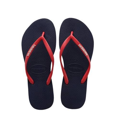 Havaianas Navy Blue/Ruby Red Slim Logo Flip Flops