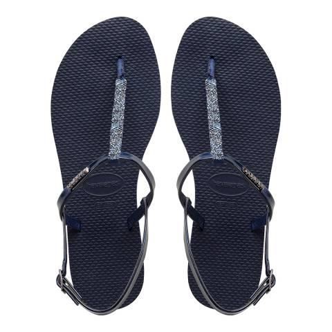 Havaianas Navy Blue Crystal You Riviera Sandals