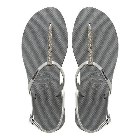 Havaianas Steel Grey Crystal You Riviera Sandals
