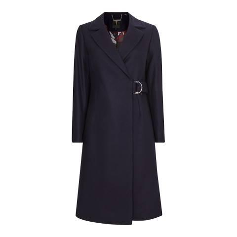 Ted Baker Navy Dezpina Wool/Cashmere Blend Coat
