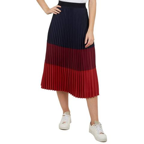 Ted Baker Navy/Red Zahava Midi Skirt