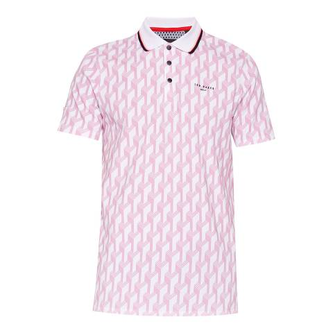 Ted Baker Pink Antipar Printed Golf Polo Top