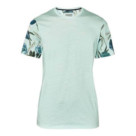 Ted Baker Light Green Bark Floral Sleeve T-Shirt
