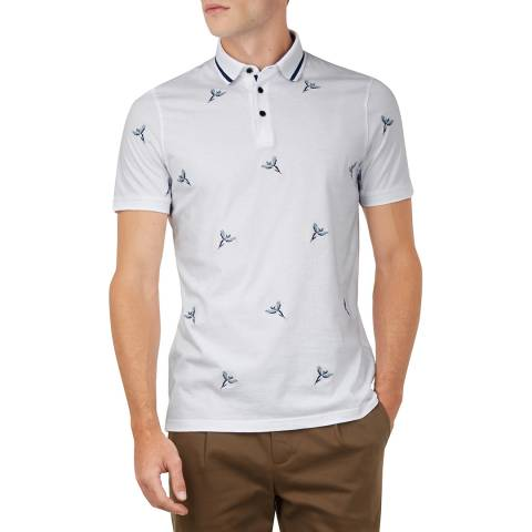 Ted Baker White Hapnes  Bird Embroidered Polo Top