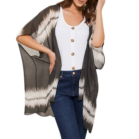 Mint Velvet Khaki Tie Dye Kimono
