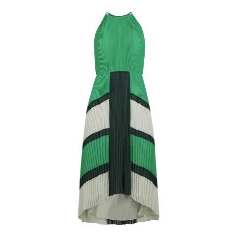 Ted Baker Bright Green Dip Hem Pleated Dress