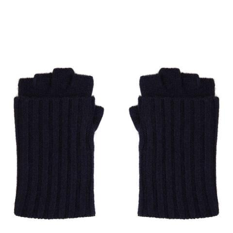 N°· Eleven Navy Cashmere Ribbed Fingerless Gloves