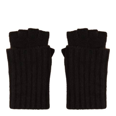 N°· Eleven Black Cashmere Ribbed Fingerless Gloves