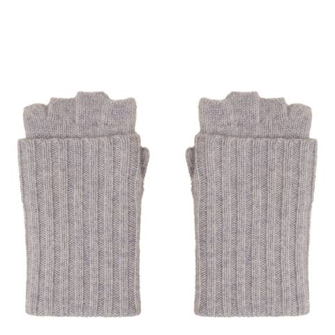 N°· Eleven Grey Cashmere Ribbed Fingerless Gloves