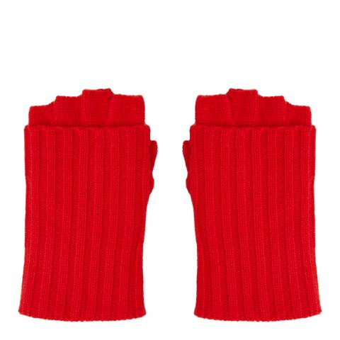 N°· Eleven Red Cashmere Ribbed Fingerless Gloves